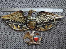 "2 Vintage American Eagle Wall Plaques 25""& 8"" Cast Aluminum Sexton & MBC"