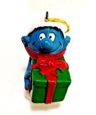 "Peyo Vintage Smurfs Artist Proof Christmas Package Ornament 2.25"" PVC Figure EUC"