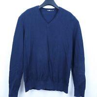 ROYAL CLASS Mens Royal Blue V Neck Thin Sweater Jumper SIZE Large, L