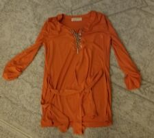 MICHAEL KORS Burnt Orange Tunic w/Silver Chain Lace Roll Up Long Sleeve size 6