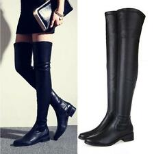 Women Leather Thigh High Over the Knee Boot Flat Oxfords Leg Booties Shoes Black