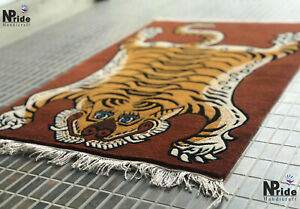 Handknotted Tibetan Tiger Rug Carpet Runner -Rectangle - 2ftx3ft - Gift ideas