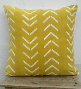 African Inspired Mud Cloth Yellow Color 20x20 Cotton Pillow Cover Strip Printed