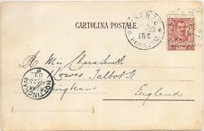 ITALY P/P/C. 22/4/1903 SG65; FIRENZE - NOTTINGHAM;LIGHT CANCEL & GOOD RECEIVED.
