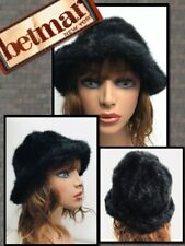Betmar New York Vintage Black Faux Fur Bucket Russian Cossack Hat Usa 699083