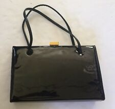Spearo Vintage Purse Genuine Black Patent Leather Made In England EVC Bag