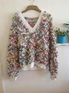 Hand Knitted Jumper Funky bobble multicolored Textured size M unusual