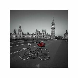 Roses in a Bicycle Basket at London's Westminster Bridge Art Wall Decor Print 1