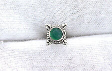 One Single 4mm Round Green Agate Sterling Silver Cabochon Cab Gem Stud Earring