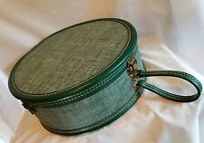 Vintage American Tourister Round Hat Box Suitcase Luggage Green/ Teal