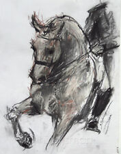 Original Charcoal Drawing of Horse by Nina Smart unframed 29x39cm 100% unique