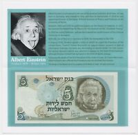 Albert Einstein 5 Israel Lirot 1968 Banknote P34b UNC Tribute Folder Gift Holder