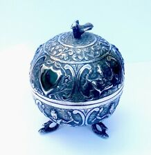 ATTRACTIVE INDIAN/MADRAS SILVER BALL SHAPED LIDDED POT with MAKER'S MARK