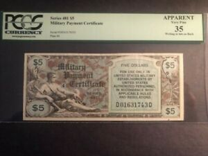 1 MILITARY PAYMENT CERTIFICATE SERIES 481 $5 APPARENT VERY FINE 35