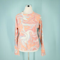 Nordstrom Size Small S Top Marble Swirl Print Crew Neck Long Sleeve Knit  NWOT