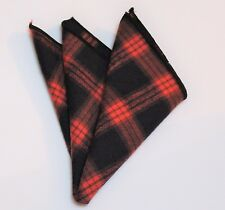 Hankie Pocket Square Cotton Handkerchief Black & Dark Orange CH101
