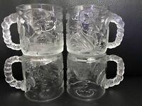 4 X Vintage 1995 Glass McDonalds Mug Batman Forever Series Two Faces Double Face