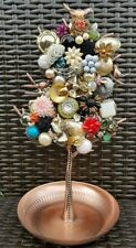 Upcycled Jewelry Tree Stand Display with vintage jewels
