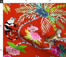 Chinoiserie Tropical Red Monkey Flower Leopard Fabric Printed by Spoonflower BTY