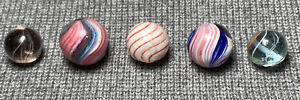 German Handmade Lot (5) Marbles - Onionskin Joseph's Coat, Clambroth, Swirls NM