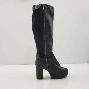 Torrid Scuba Back Vegan Leather Tall Boots Womens 11W Black Zipper