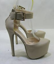 "Womens Nude/Beige 6"" High Heel 2.5"" Platform Ankle Straps Sexy Shoes Size 8.5"