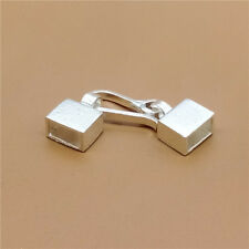 Sterling Silver Rectangular Cord End Caps 925 Sterling Silver Cord Hook Flat End