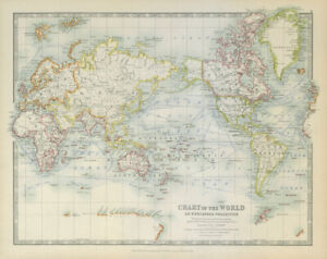WORLD ON MERCATOR'S PROJECTION unusually Pacific-centred. JOHNSTON 1915 map