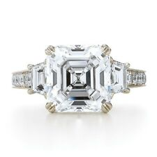 Diamond Engagement Ring GIA Certified Asscher & Baguette Cut 5.00 Carat Platinum