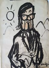 Cuban Art. Caricature of Ernesto Cardenal by Juan David, 1973. Original signed.
