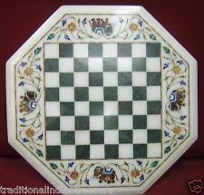 "13"" Marble Coffee Chess Table Top Jasper Elephant Inlay Mosaic Arts Home Decor"