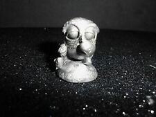 VINTAGE WILSON HUDSON PEWTER SLEEPY BABY OWL WITH TEDDY IN EXCELLENT CONDITION