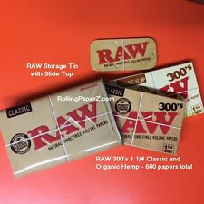 TWO X RAW 300s Organic Hemp + Classic Rolling Paper+Storage Stash Storage TIN