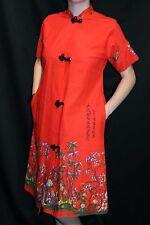 S Vtg 70s Kimono Lounge ROBE Orange-Red Asian Print Dressing Gown House Coat