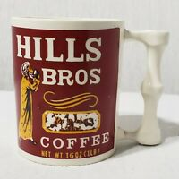Vintage 1960s Hills Bros Coffee Mug Cup White Red Yellow Unique Handle Ceramic