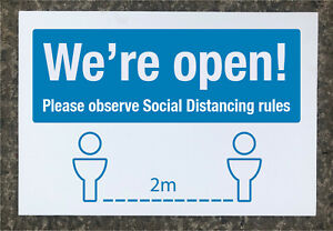 Social Distancing 'We're open!' signage 600 x 400mm tough exterior grade
