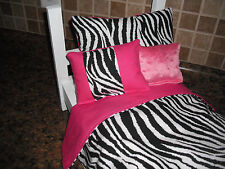 4-piece Bedding set White Zebra print fits 18 inch Girl doll beds