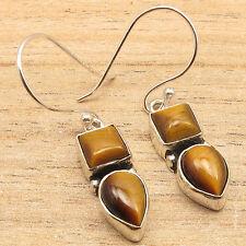 Real Brown TIGER'S EYE 2 Gemstone Popular Earrings ! 925 Silver Plated Jewelry