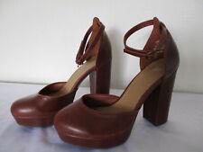 Ladies H & M  Brown high block ankle strap shoes U.K. 3.5 (EUR 36)