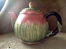 """Beautiful """"New Majolica"""" Artist Signed Teapot with carved plants and snail lid."""