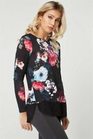 Ex Roman Ladies Black Floral Chiffon Hem Long Sleeve Tunic Top Blouse 10-20