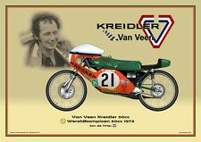 Print on Canvas Van Veen Kreidler 50cc 1973 #21 Jan de Vries WC Yellow 80 x 60