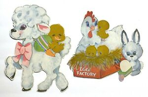 2 Large Vintage Die-Cut Easter Decorations • Bunny, Chicken, Baby Chicks, Lamb