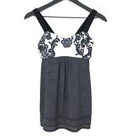 Lululemon Lace Print Built-In Bra Tank Top Womens Size 6 Gray