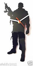 soldier army military  style Clock - black 3mm Acrylic