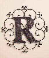 R Bronze Metal Personalized Monogram Wall Hanging Art Home Den Office Decor