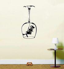 Banksy Swinging Girl Wine Glass Wall Art Vinyl Stickers Kitchen Dining Mural Black