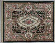 8 x 10 Classic French Design Artificial Silk Handmade Aubusson Green Rug
