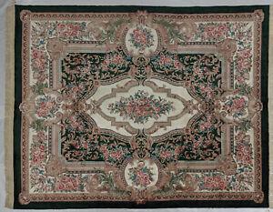 8 x 10 Classic French Design Artificial Silk Handmade Aubusson Green Rug