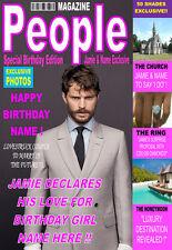 JAMIE DORNAN 50 Shades Grey Personalised Birthday'MAGAZINE STYLE' Card ANY NAME